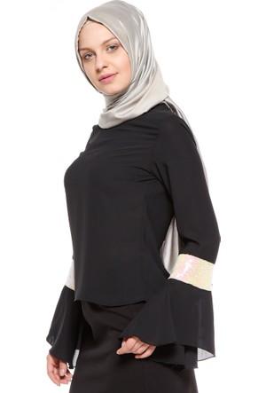 Pul Payet Detaylı Bluz - Siyah Ekru - Tuncay