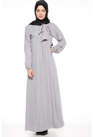 Yaka Detaylı Elbise - Gri - Tuncay