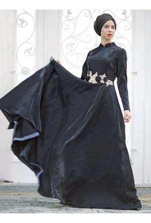 Çiçek Detaylı Abiye Elbise - Siyah - Zehrace