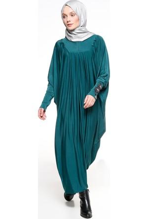Taş Detaylı Elbise Ferace - Açık Yeşil - Ginezza