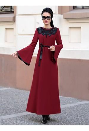 Yaka Detaylı Elbise - Bordo - Selma Sarı Design