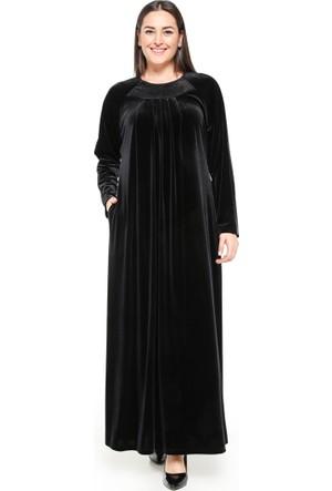 Drop Baskılı Kadife Elbise - Siyah - Ginezza