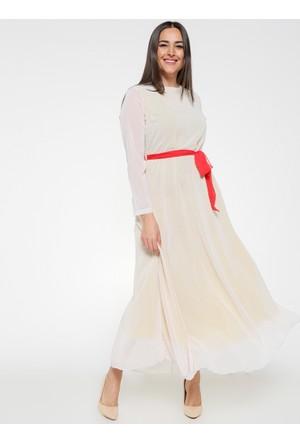Şifon Elbise - Ekru Mercan - Pardesü Dünyası