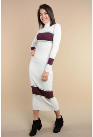 Rodin Hills Taş Çizgili Boğazlı Triko Elbise 0019