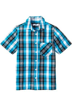 Bpc Bonprix Collection Erkek Çocuk Mavi Kısa Kollu Baskılı Gömlek