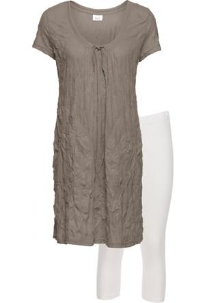 Bonprix Kadın Kahverengi Tunik & Kapri Tayt