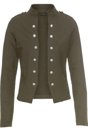 Bonprix Kadın Yeşil Düğme Şeritli Blazer Ceket