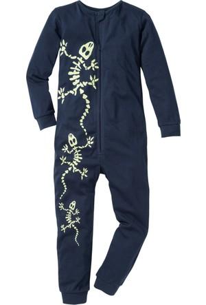Bonprix Erkek Çocuk Mavi Kertenkeleli Tulum Pijama