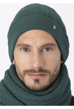 Hemington Açık Yeşil Lambswool Yün Saç Örgü Bere