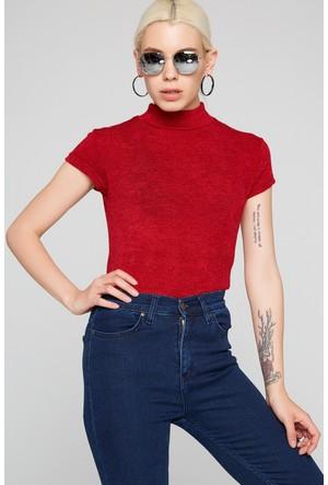 FullaModa 18KETİCET0001 Kadın Balıkçı Yaka Bluz Kırmızı