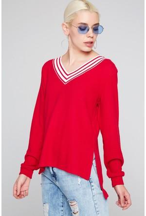 FullaModa 18KAKYÜZ0018 Kadın Şeritli Bluz Kırmızı