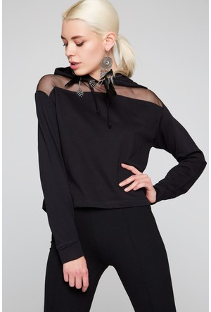 FullaModa 18KSPR0026 Kadın Tüllü Bluz Siyah