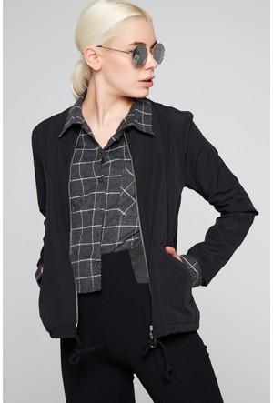 FullaModa 17YKTN0013 Kadın Kamuflaj Ceket Siyah