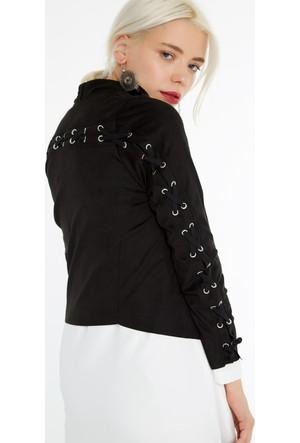 FullaModa 18KCSCD0002 Kadın Süet Ceket Siyah