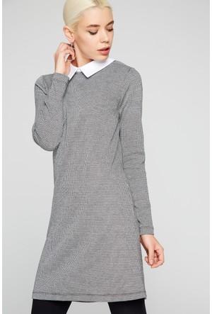FullaModa 18KBUSEM0112 Kadın Desenli Elbise Antrasit