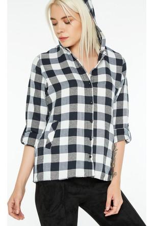 FullaModa 18KREYON0002 Kadın Kapüşonlu Gömlek Ekru