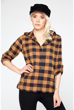 FullaModa 18KREYON0002 Kadın Kapüşonlu Gömlek Taba