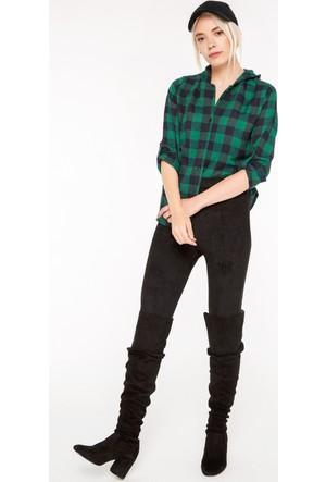 FullaModa 18KREYON0002 Kadın Kapüşonlu Gömlek Yeşil