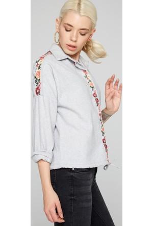 FullaModa 18KREYON0015 Kadın Nakışlı Gömlek Gri