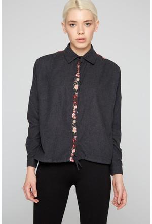 FullaModa 18KREYON0015 Kadın Nakışlı Gömlek Siyah