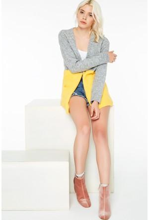FullaModa 18KEMIREY0137 Kadın İki Renk Hırka Sarı