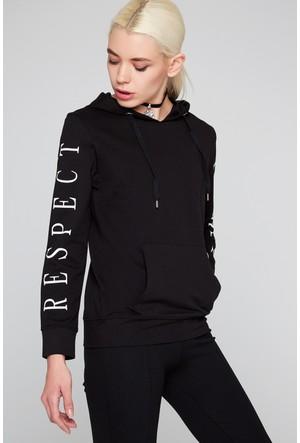 FullaModa 18KALAT0016 Kadın Baskılı Sweatshirt Siyah