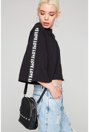 FullaModa 18KAKYÜZ0009 Kadın Nakışlı Sweatshirt Siyah