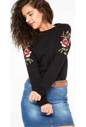 FullaModa 18KALAT0012 Kadın Nakışlı Sweatshirt Siyah