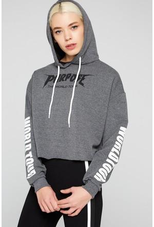 FullaModa 18KNOA0003 Kadın Baskılı Kapüşonlu Sweatshirt Antrasit