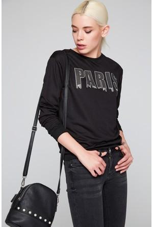 FullaModa 18KDVN0017 Kadın Baskılı Sweatshirt Siyah