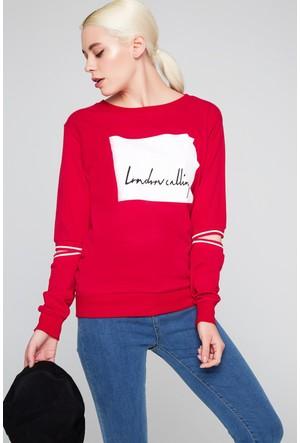 FullaModa 18KMSL0007 Kadın Baskılı Sweatshirt Kırmızı