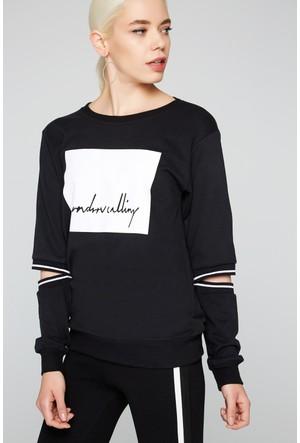 FullaModa 18KMSL0007 Kadın Baskılı Sweatshirt Siyah