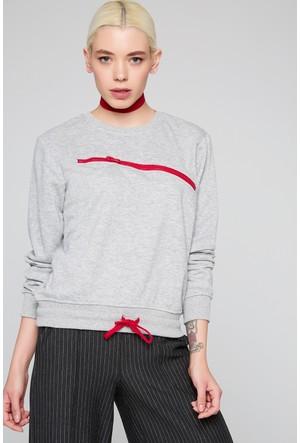 FullaModa 18KAKYÜZ0020 Kadın Fermuar Detaylı Sweatshirt Gri