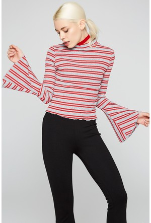 FullaModa 18KAKYÜZ0037 Kadın İspanyol Kol Sweatshirt Kırmızı