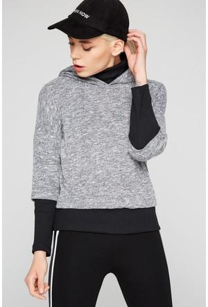 FullaModa 18KTURKUVAZ0030 Kadın Kapüşonlu Sweatshirt Gri