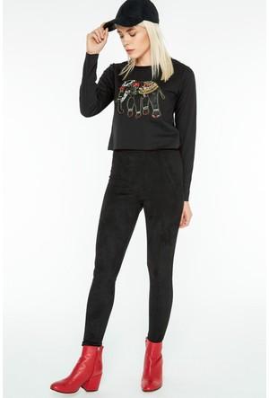 FullaModa 18KLSK0005 Kadın Nakışlı Sweatshirt Siyah