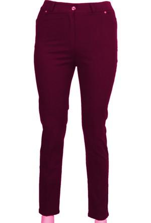 Ruşetül Süper Battal Cotton Kadın Büyük Beden Pantolon Bordo