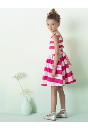 Vertbaudet Kız Çocuk Pamuklu Çizgili Elbise
