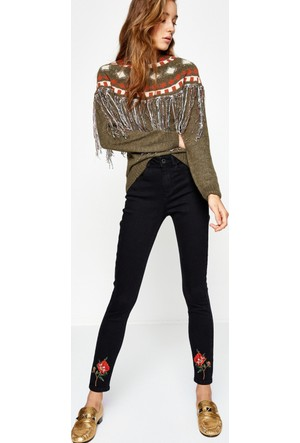 Koton Kadın Jeans Pantolon Siyah (Fahriye Evcen for Koton)