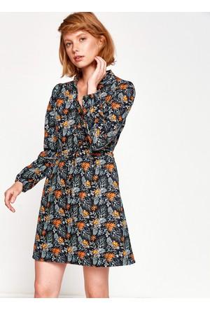 Koton Kadın Desenli Elbise Bordo