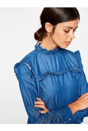 Koton Kadın Fırfır Detaylı Elbise Mavi