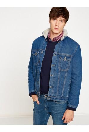 Koton Erkek Suni Kürk Detaylı Jean Ceket Mavi