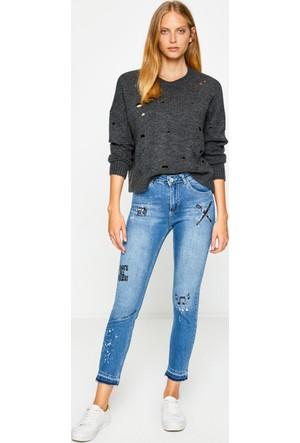 Koton Kadın Cep Detaylı Pantolon Mavi