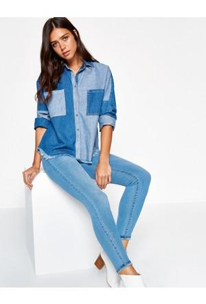 Koton Kadın Dar Kesim Jean Pantolon Mavi
