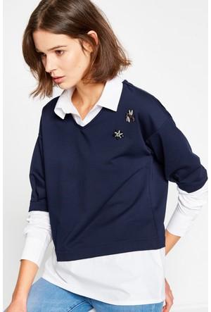 Koton Kadın Taş Detaylı Sweatshirt Lacivert