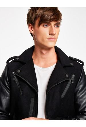 Koton Erkek Deri Detaylı Ceket Siyah