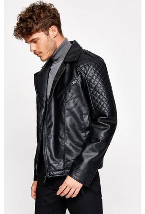 Koton Erkek Deri Görümünlü Ceket Siyah