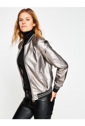 Koton Kadın Deri Görünümlü Ceket Gri