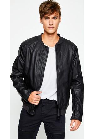 Koton Erkek Deri Görünümlü Ceket Siyah