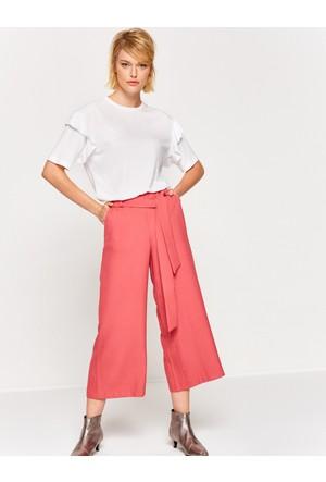 Koton Kadın Beli Bağlamalı Pantolon Mercan